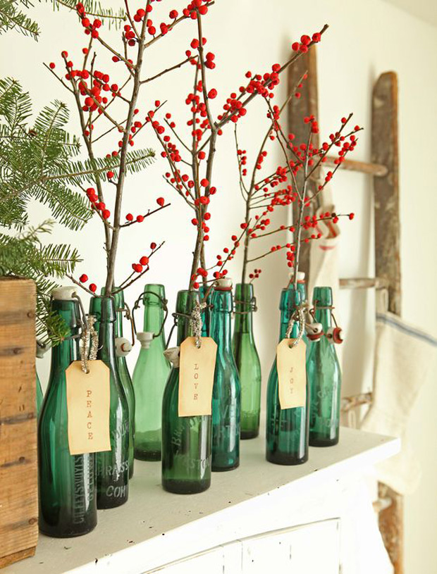 بطری شیشه ای رنگی برای گل