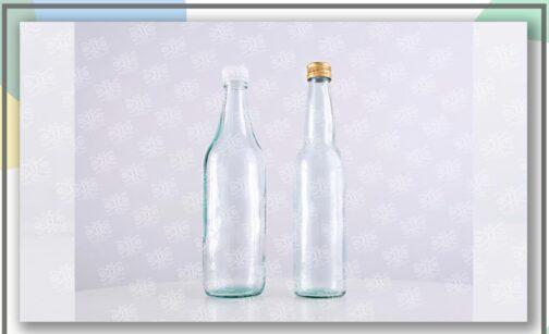 خرید بطری شیشه ای نیم لیتری استوانه ای